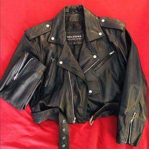 Vintage Wilsons leather cropped biker jacket